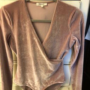 Madewell blush velvet bodysuit